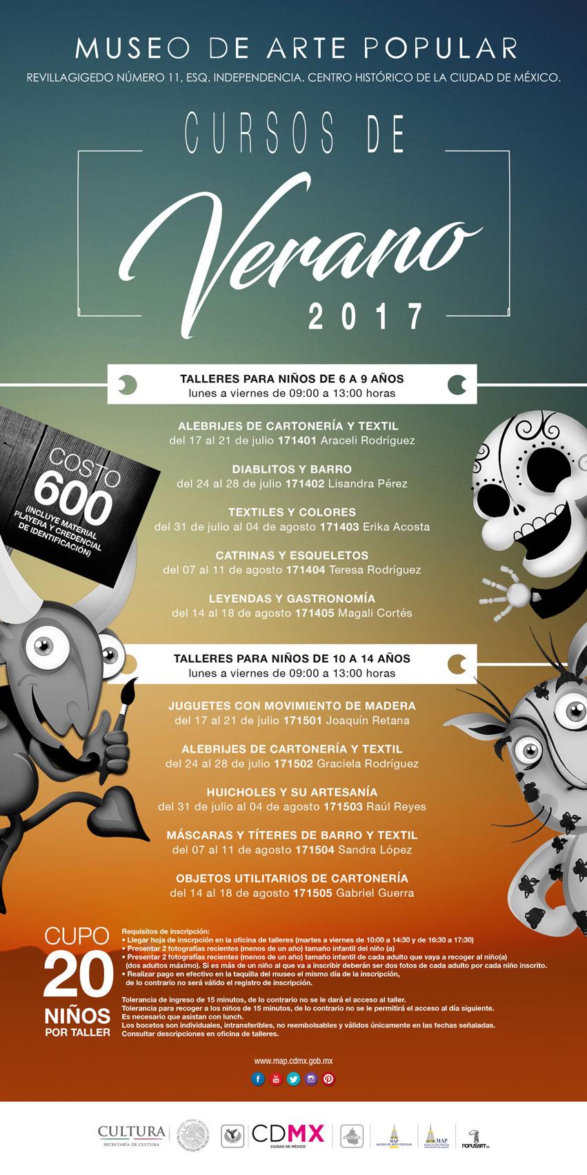 TALLERES DE VERANO PARA NIÑOS Y ADOLESCENTES DE 6 A 14 AÑOS DEL 17 DE JULIO  AL 18 DE AGOSTO DEL 2017. 78cbedbdb86